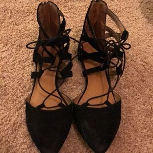 Shoes - Mossimo lace up black flats